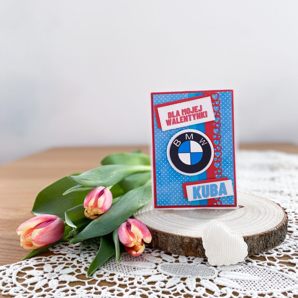 kartka na walentynki z motywem BMW