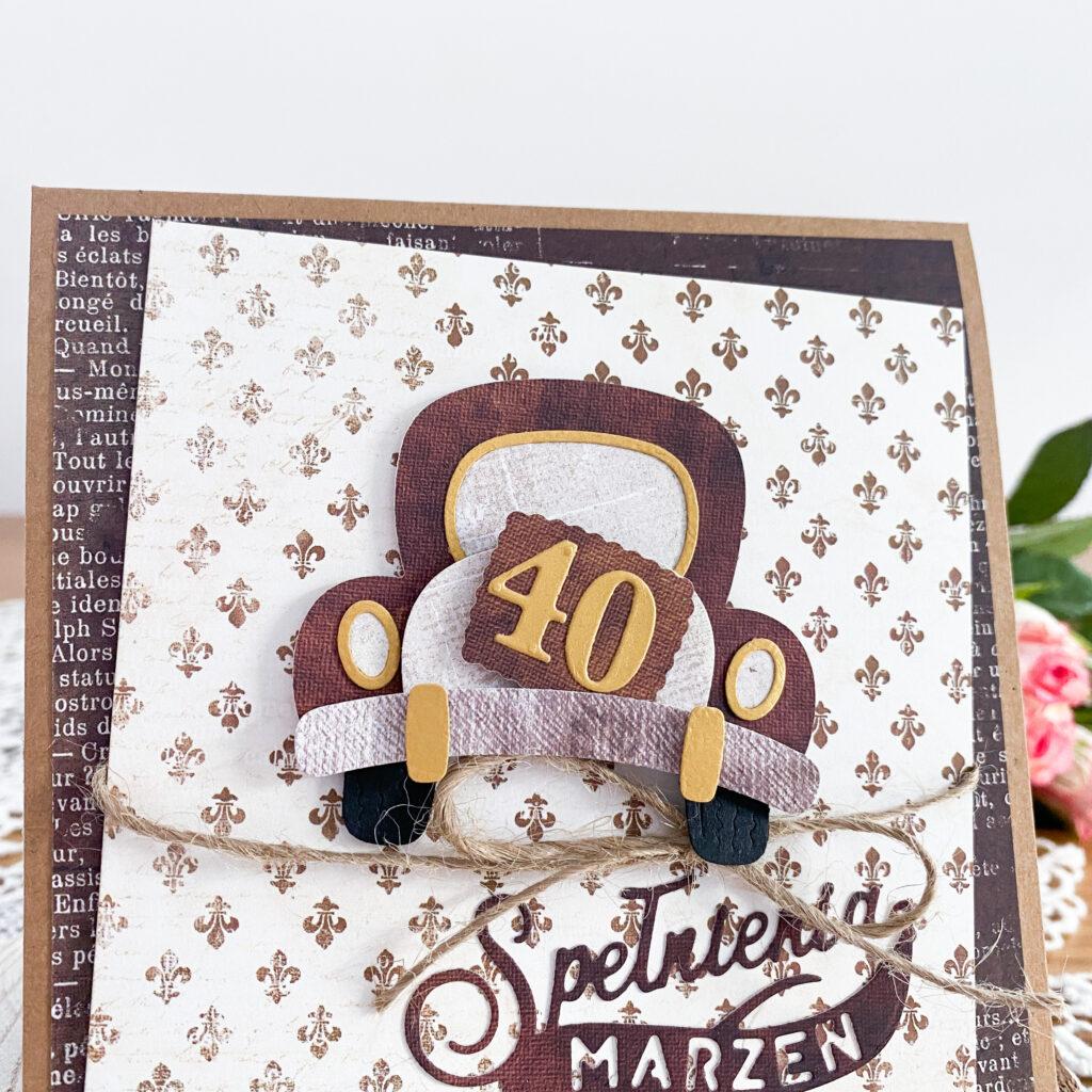 Ręcznie wykonana kartka na 40 urodziny dla mężczyzny.