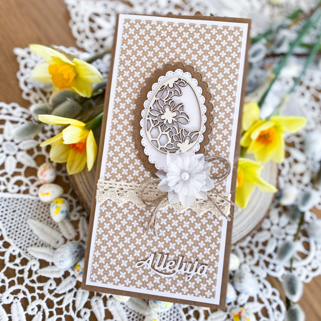 Ręcznie wykonana kartka wielkanocna w rustykalnym stylu.
