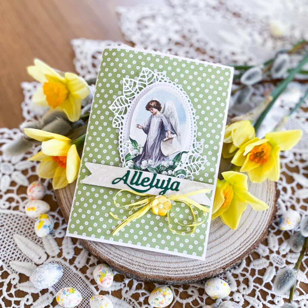 Kartka wielkanocna z aniołem.