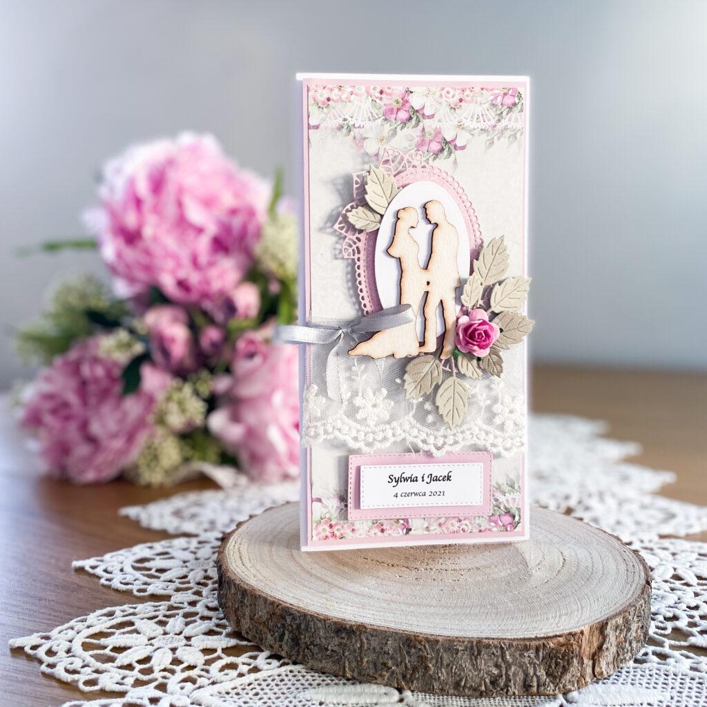 ręcznie wykonana kartka ślubna w szaro-różowej kolorystyce