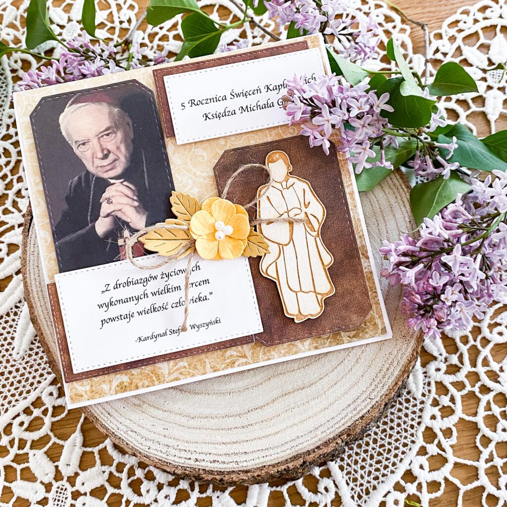 Ręcznie wykonana kartka na Rocznicę Święceń Kapłańskich.