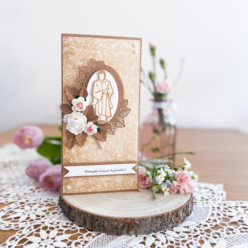 Ręcznie wykonana kartka z okazji Święceń Kapłańskich.