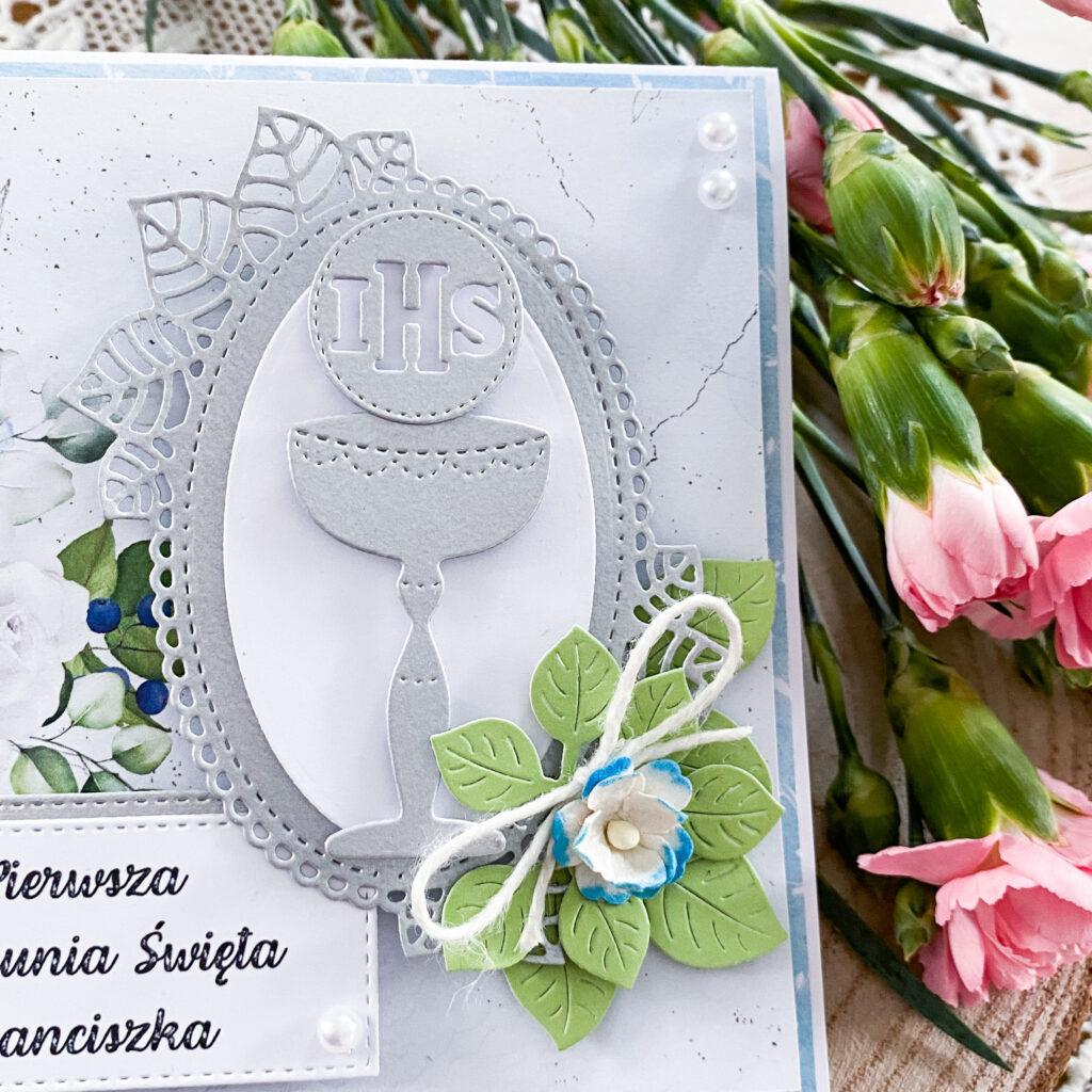 Ręcznie wykonana kartka na Pierwszą Komunię Świętą - detale