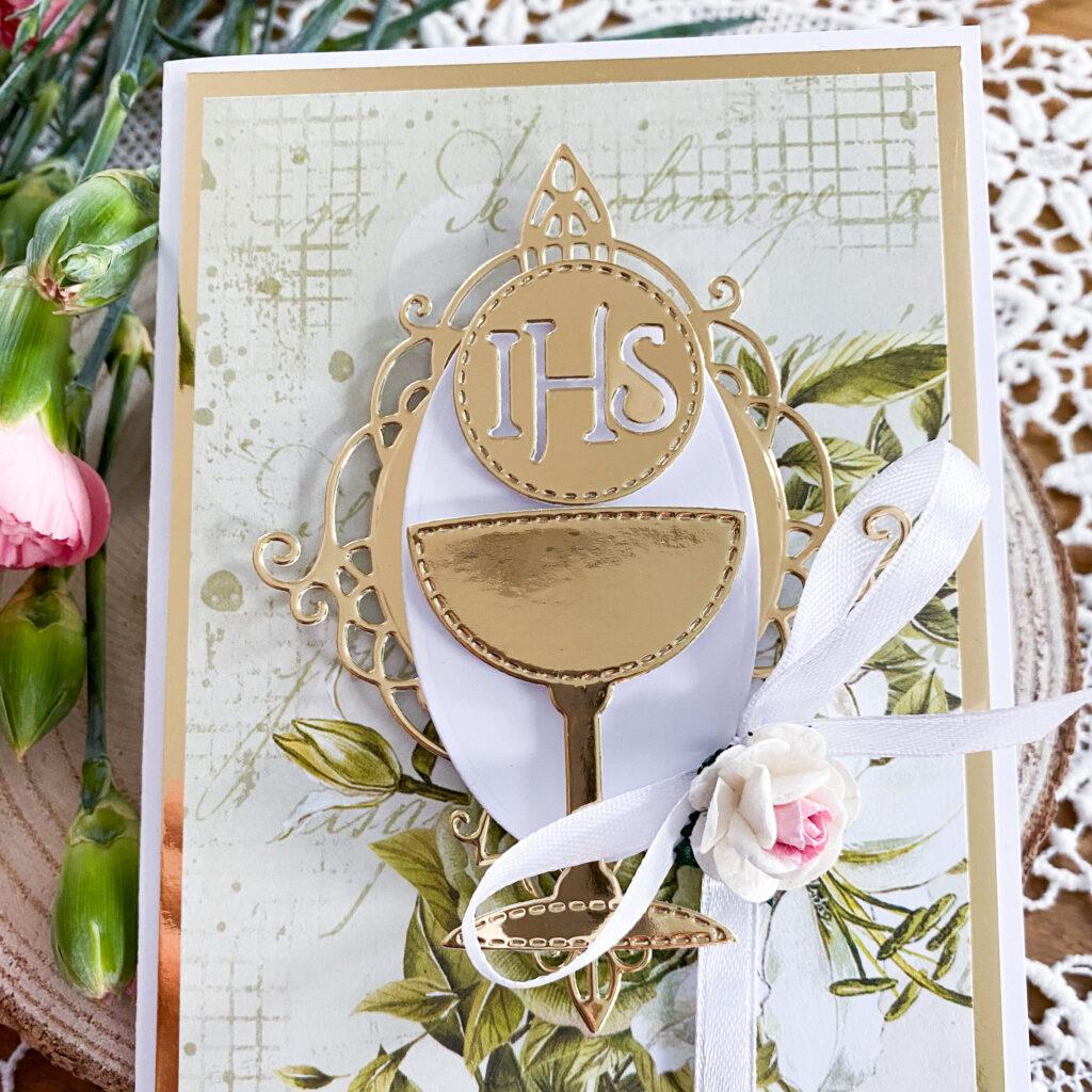 Ręcznie wykonana kartka na Pierwszą Komunię Świętą - złote detale