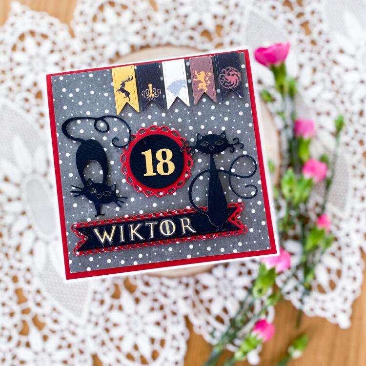 ręcznie wykonana kartka na 18 z motywem gry o tron