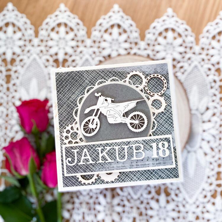 Ręcznie wykonana kartka na 18 dla Jakuba, z motywem motocykla