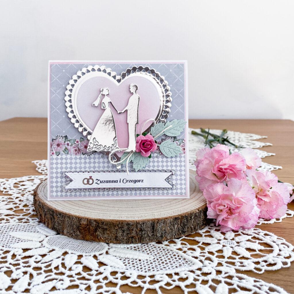 Ręcznie wykonana kartka ślubna