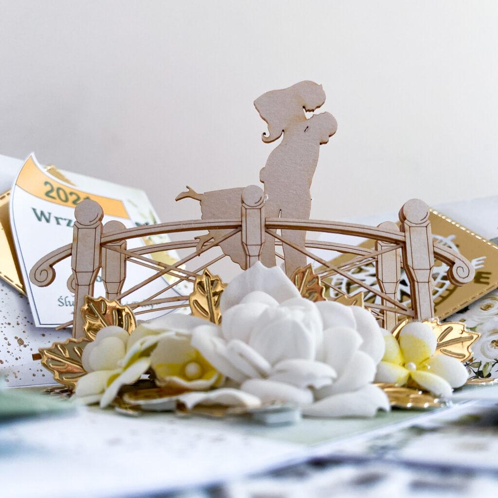 Ręcznie wykonana kartka ślubna w formie expkoding boxa - czyli pudełka które samo się otwiera po zdjęciu przykrywki.