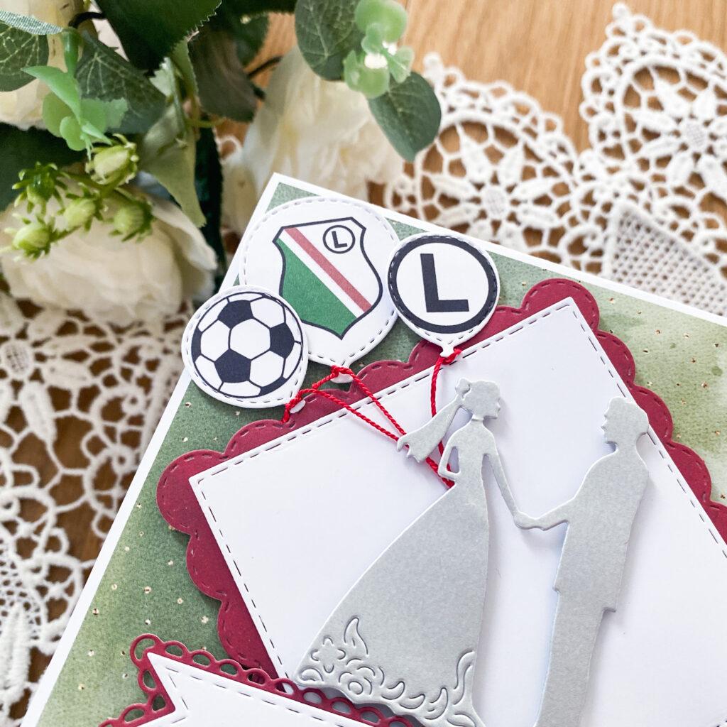 Ręcznie wykonana kartka ślubna w barwach Legii